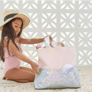 Pottery Barn Kids light pink Magic Sequin Tote Bag